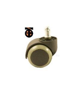 Колесо мебел. обрезиненное со штырем М11 50мм (черный пластик и серая резина)