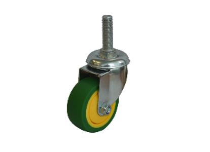 Колесо ЗЕЛЕНАЯ мягкая резина болтовое крепление (М10) 50мм (SCTG25)