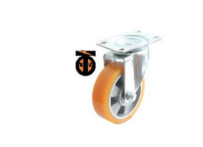 Колесо б/г полиуретан. поворот. АЛЮМИНИЙ 100 мм (Medium)  4323100 AL