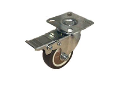 Колесо коричневая мягкая резина поворотное с тормозом (металл) 50мм (SCGB(M)25)