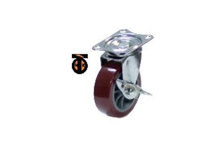 Колесо мебел. поворотное c тормозом 50мм (красный пластик)