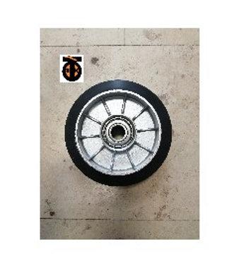 Колесо опорное для рохли без кронштейна, алюминий, черная резина, 160мм