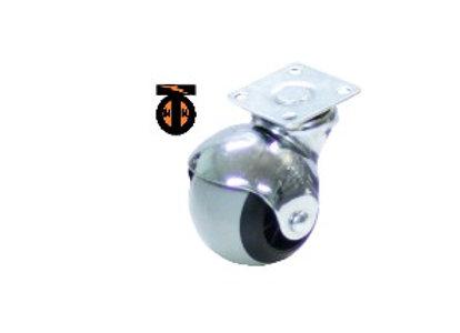 Колесо мебел. шарик поворотное 40мм (серая резина)