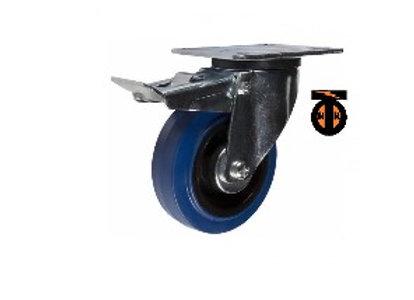 Колесо с эластичной СИНЕЙ резиной поворотное с тормозом 125мм