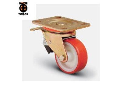 Колесо сверхмощное полиуретановое поворотное с тормозом 200 мм (ED01 ZBP 200 F)
