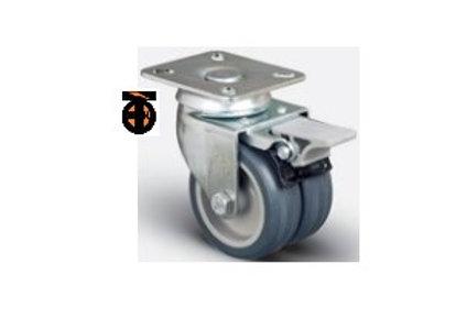Колесо аппаратное сдвоенное поворотное с тормозом 50 мм , диск-полипропилен