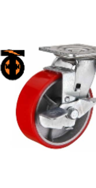 Колесо большегрузное полиуретановое поворотное с тормозом D-100   SCPB42