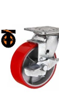 колесо большегрузное полиуретановое поворотное с тормозом D-160   SCPB63