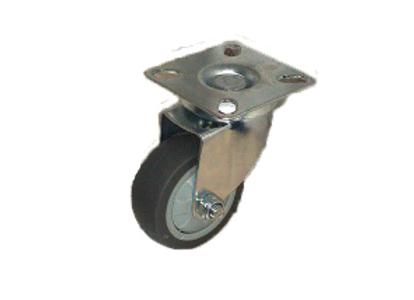 Колесо ТЕМНАЯ серая мягкая ГЛАДКАЯ резина поворот. 50мм (SCG25)