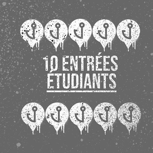 Carte 10 entrées pour étudiants