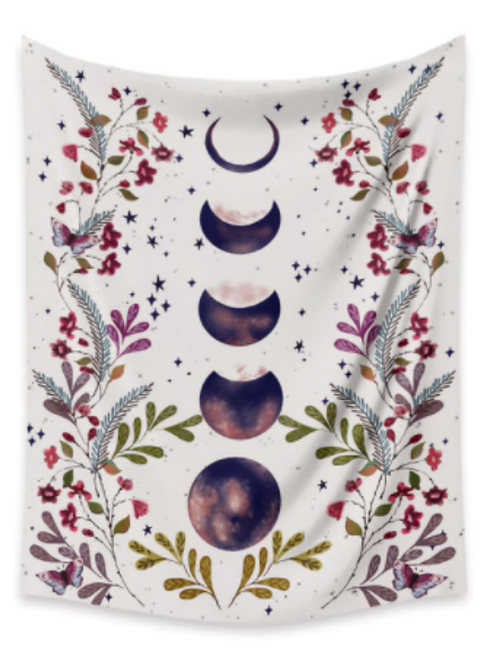Starry Night Moon Phases Tapestry
