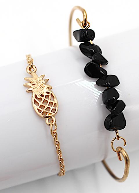 Gold Plated Pineapple & Lava Stone Bracelet Set