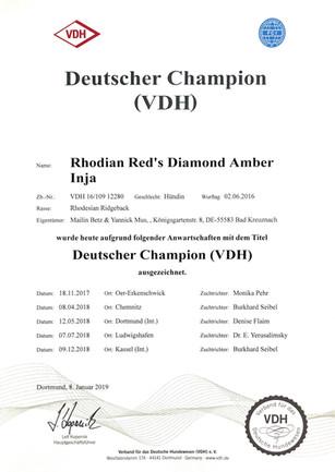 Rhodian Reds Diamond Amber Inja by Red Kosi
