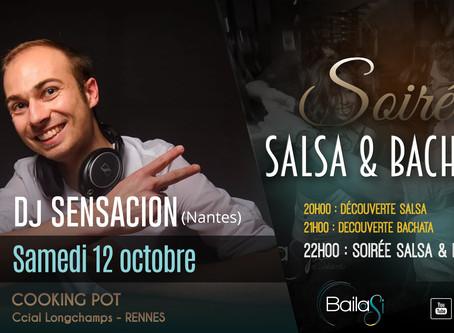"""12 octobre : Soirée Salsa & Bachata & initiations by""""Bailasi"""" / Dj Sensacion"""