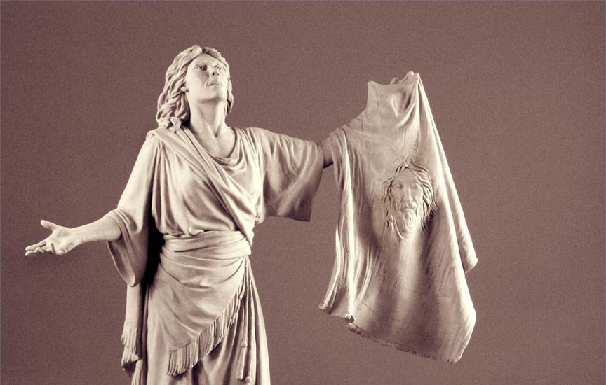 Bronze sculpture of St. Veronica