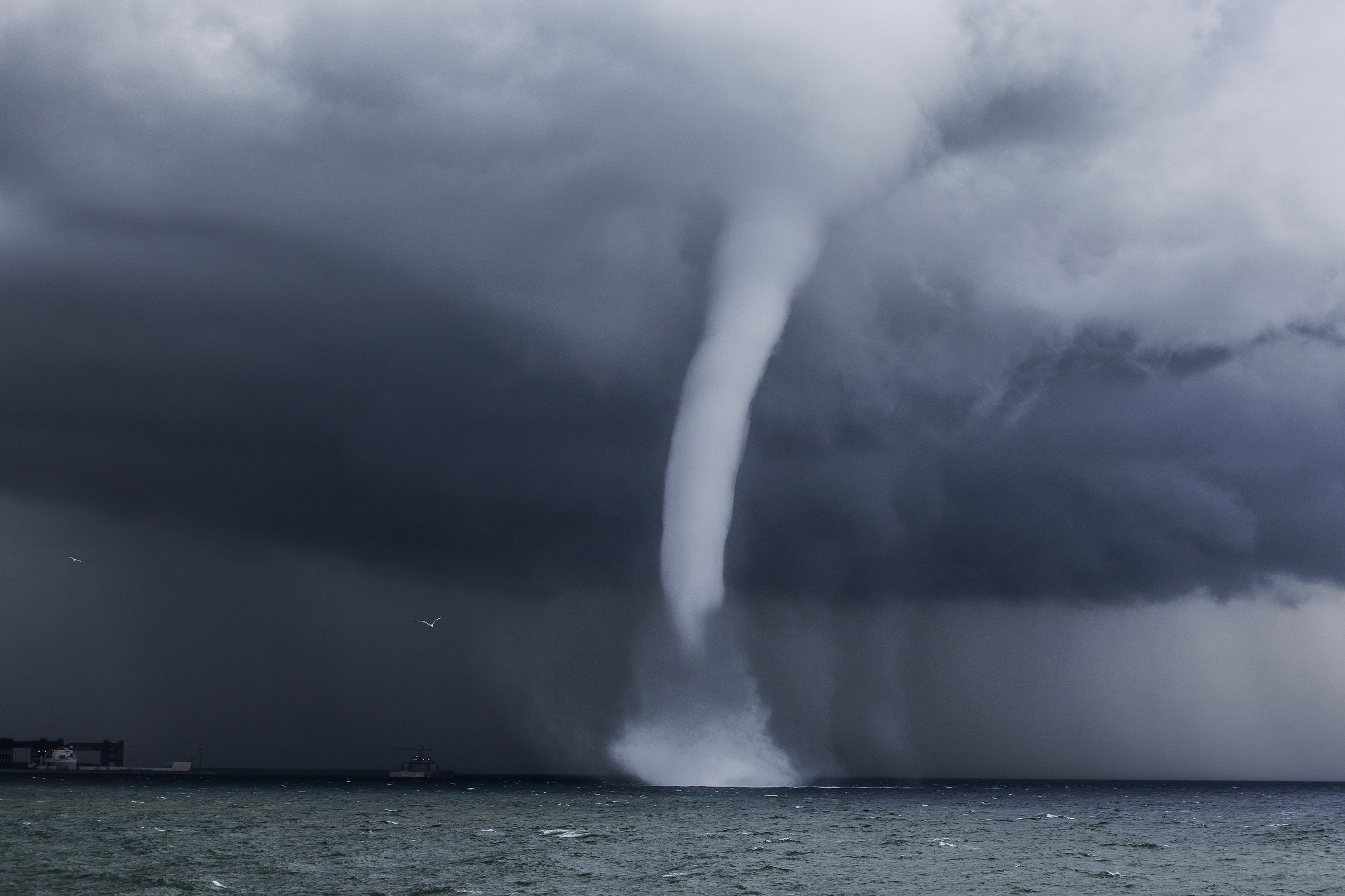 Spectacular waterspout over the sea