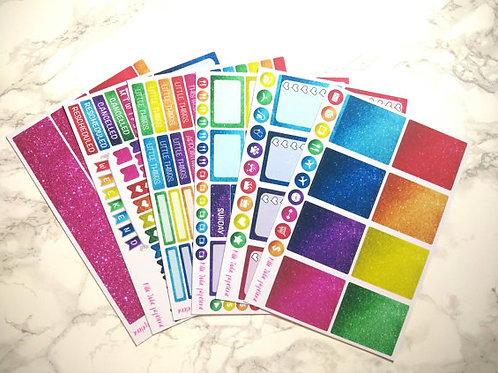 Erin Condren size - Weekly Sticker Kit - Glitter rainbow