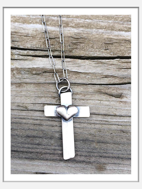 STERLING HEART CROSS NECKLACE