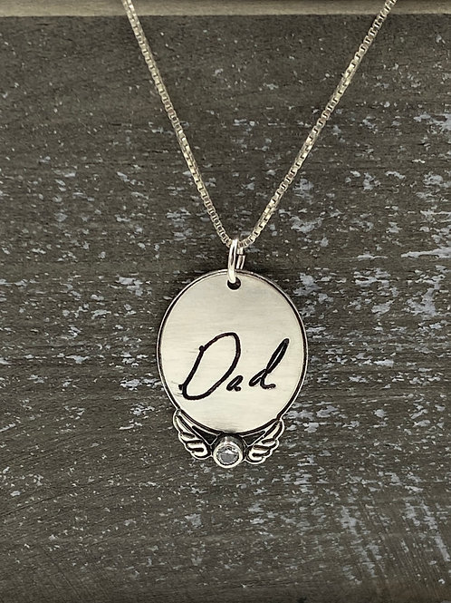 Oval angel wing necklace with birthstone