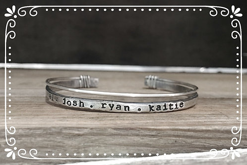 distressed wrapped name small cuff