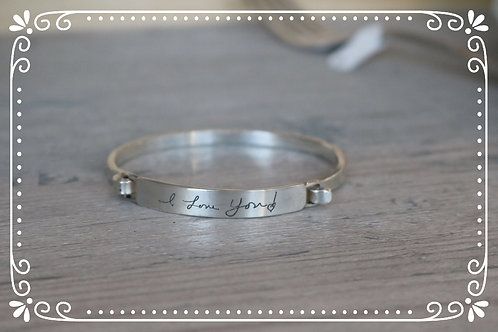 handwriting bracelet with closure
