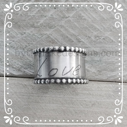 handwriting beaded wide ring