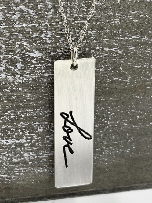 sterling silver handwriting necklace, medium rectangle