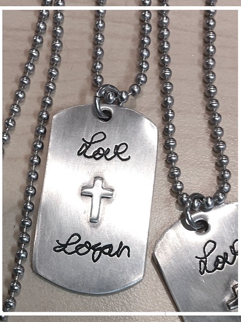 handwriting dog tag necklace with soldered cross