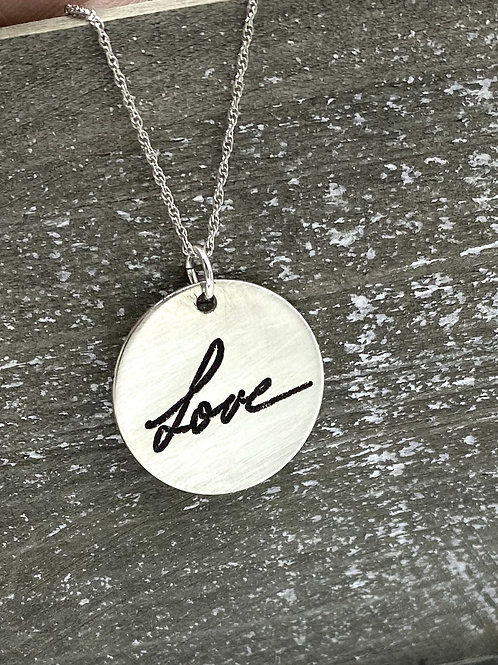 sterling silver handwriting necklace, Medium round charm