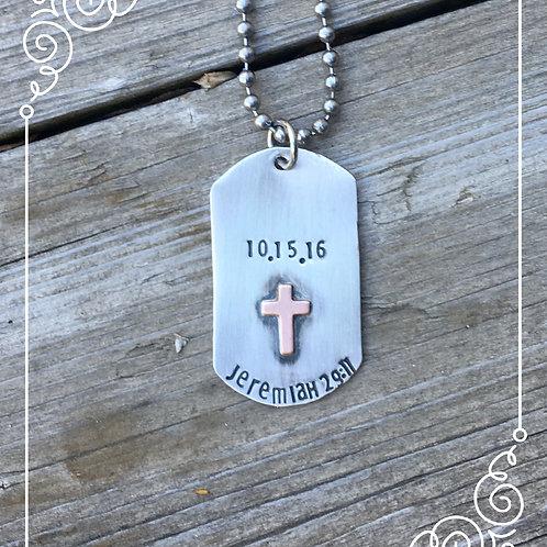 lg sterling dog tag baptism/communion necklace