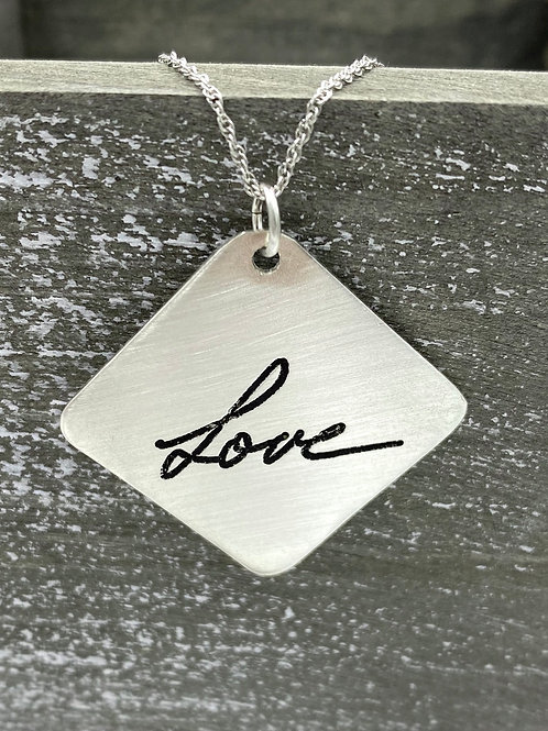 sterling silver handwriting necklace, large square