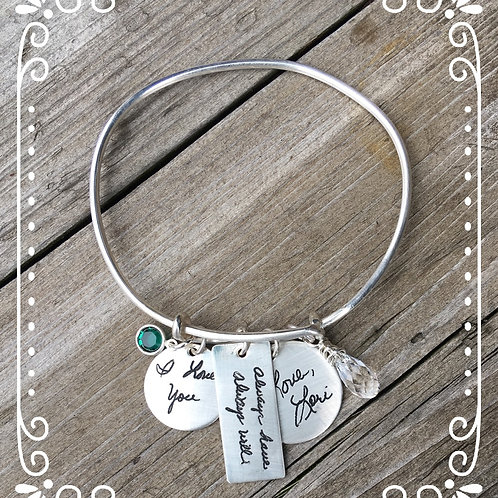expandable bracelet with your loved ones handwriting