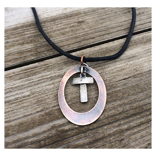 STERLING AND COPPER CROSS NECKLACE