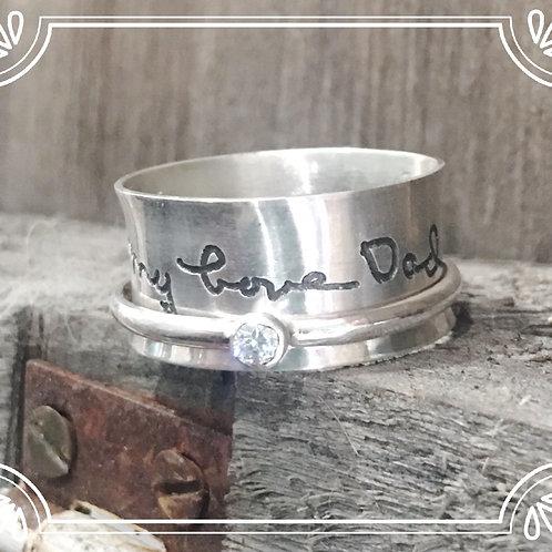 handwriting spinner ring