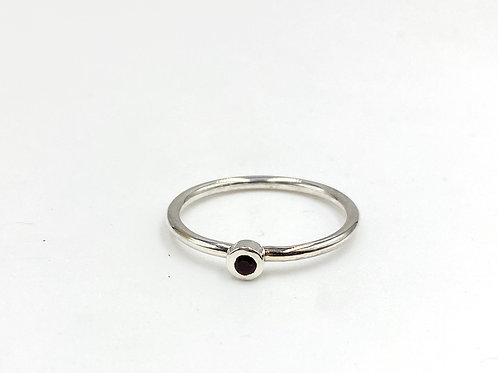 Tiny birthstone stackable ring