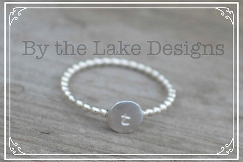stacking initial ring beaded band