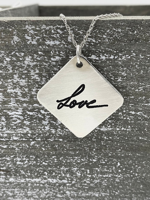 sterling silver handwriting necklace, medium square