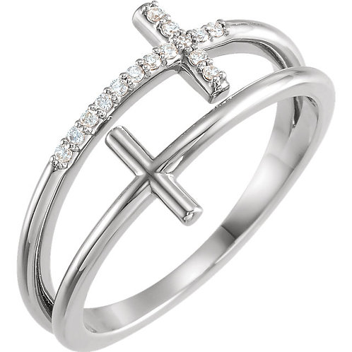 sterling diamond DOUBLE cross ring