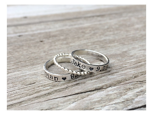 3mm  hand stamped stackable ring