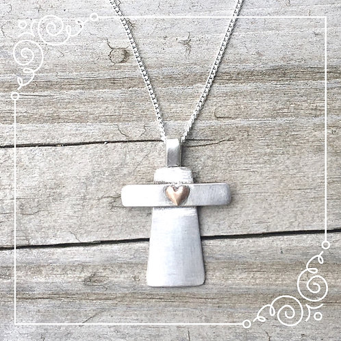 chunky cross with gold heart