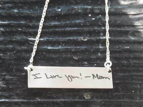 Horizontal handwriting bar necklace