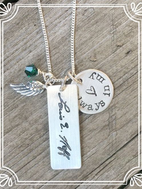 handwriting necklace with always in my heart charm