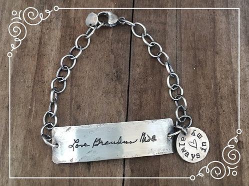 distressed handwriting bracelet