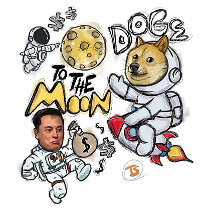 DOGE TO THE MOON- DOODLE PRINT