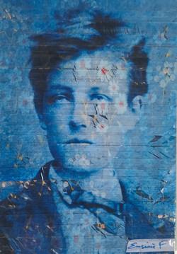 Tableau art taping blue rimbaud