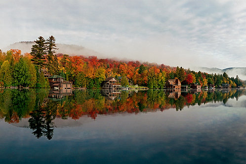 Boathouses on Lake Placid