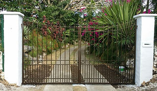 Bronze wrought iron double drive gate