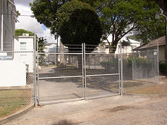 BRC Double Drive Gate with barbed wire attached