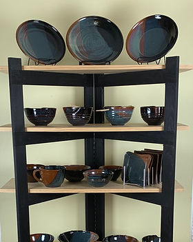 Functional Black Brown Blue Pottery Handmade by Downingtown Ceramic Artist Susan O'Hanlon
