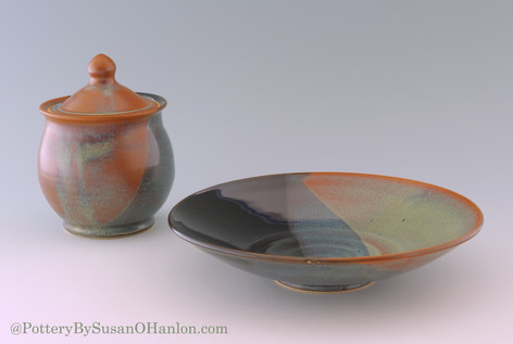 Platter and Jar in Licorice and Wheatabe
